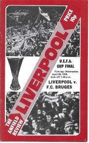 1976 UEFA Cup Final 1st Leg Liverpool vs Bruge Programme