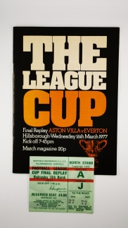1977 League Cup Final Replay Aston Villa vs Everton Programme and Ticket