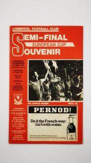 1978 European Cup Semi Final Second leg Liverpool vs Borussia Monchengladbach programme