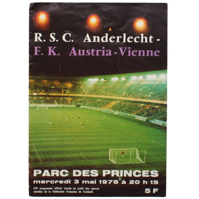 1978 European Cup Winners Cup Final Anderlecht vs Austria-Vienne programme
