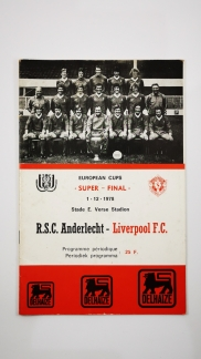 1978 European Super Cup Final first leg Andelecht vs Liverpool programme
