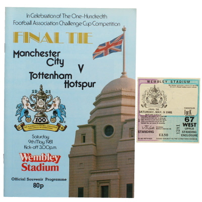 1981 F.A Cup Final Manchester City vs Tottenham Hotspur programme and ticket