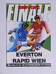1985 European Cup Winners Cup Final Everton vs Rapid Vienna Programme