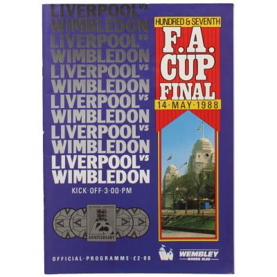 1988 F.A Cup Final Liverpool vs Wimbledon programme