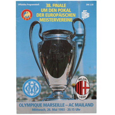 1993 Champions League Final Marseille vs AC Milan programme