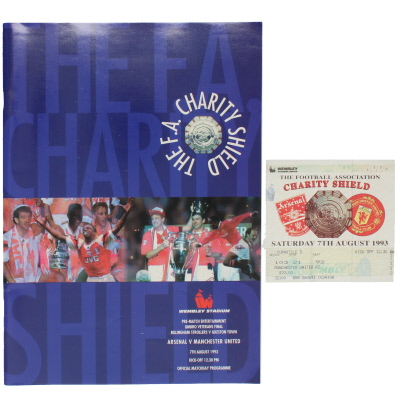 1993 Charity Shield Arsenal vs Manchester United programme and ticket