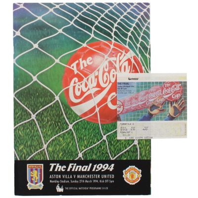 1994 League Cup Final Aston Villa vs Manchester United programme and ticket
