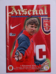 1996-97 Arsenal vs Coventry Programme Arsene Wenger first game