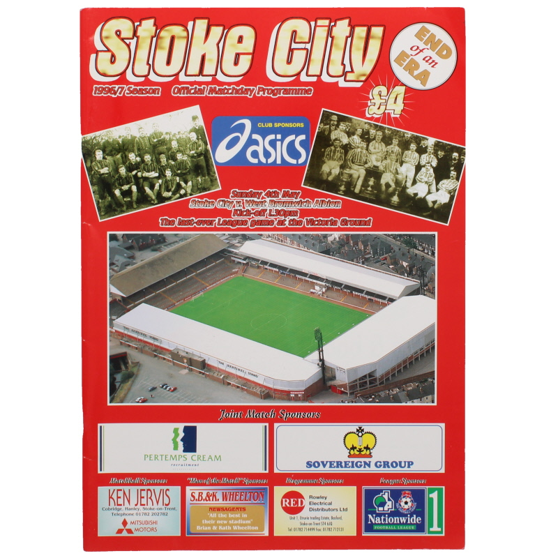 1996-97 Stoke City vs West Bromwich Albion last match at the Victoria Ground programme