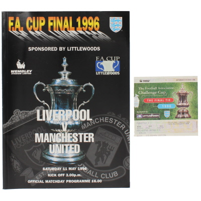 1996 F.A Cup Final Liverpool Vs Manchester United programme and ticket