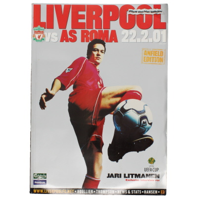 2000-01 Liverpool vs AS Roma Uefa Cup programme