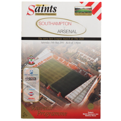 2000-01 Southampton vs Arsenal last game at The Dell programme
