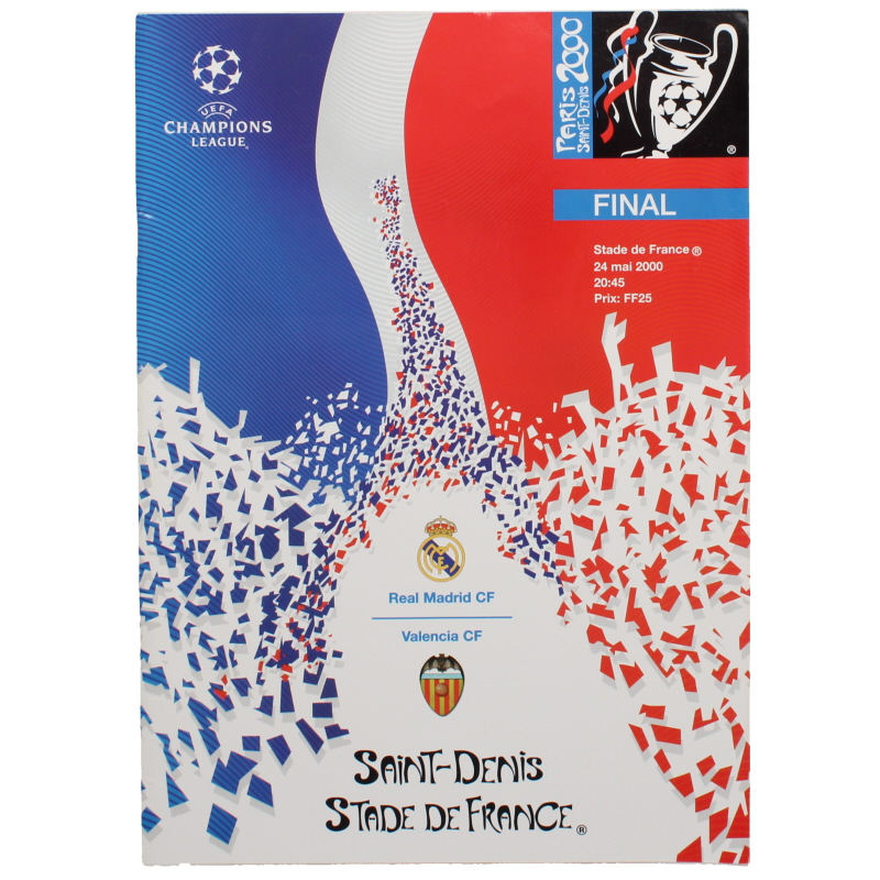 2000 Champions League Final Real Madrid vs Valencia programme