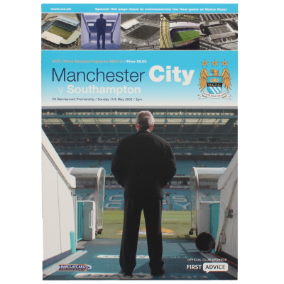2002-03 Manchester City vs Southampton last game at Maine Road programme