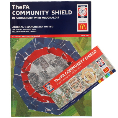 2003 Charity Shield Arsenal vs Manchester United programme and ticket