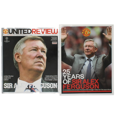 2004-05 Manchester United vs Olympique Lyonnais Alex Ferguson 1000th game programme and brochure