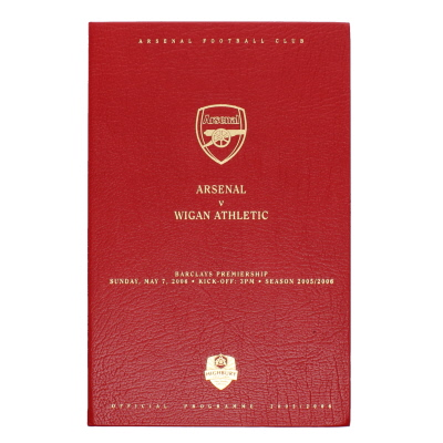 2005-06 Arsenal vs Wigan Hard Back Limited Edition Programme Last Game at Highbury