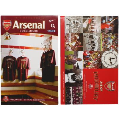 2005-06 Arsenal vs Wigan Programme Last Game at Highbury with A-Z of Highbury Brochure