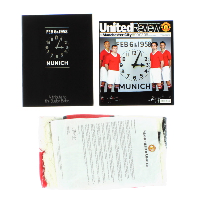 2007-08 Manchester United vs Manchester City Programme and Scarf 50th Anniversay Munich Air Disaster BNIB