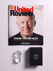2012-13 Manchester United vs Swansea Programme, Sir Alex Ferguson Last Home Game with Glass Ornament