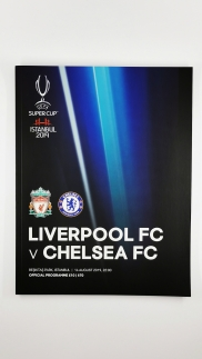 2019 Super Cup Final Liverpool vs Chelsea programme and kit card