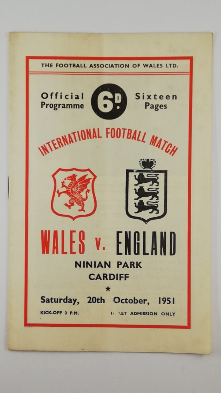 Wales vs England 1951-52 football programme